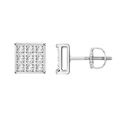Cluster Diamond Earrings Silver (925 Sterling Silver Round Cut Real Diamond Square Shape Cluster Stud Earring With Screw Back (1/20 cttw, I-J Color, I2-I3 Clarity))