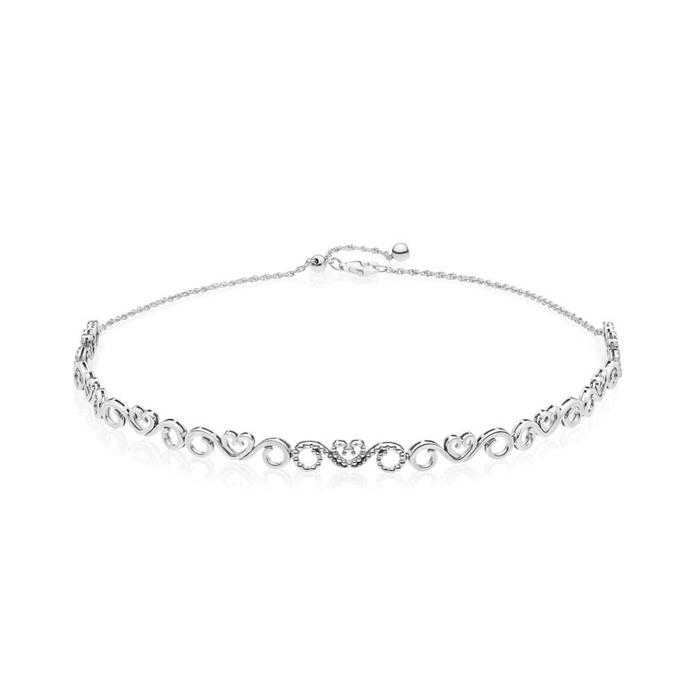 PANDORA Heart Swirls Choker Necklace, Clear CZ, 397129CZ-38