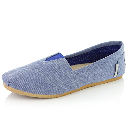 - DailyShoes Women's Women Classic Flat Slip-On Comfort Loafer Sneaker Shoes with Raised Massage Surface Elastic Top Flats Shoe, Chambray Linen, 8 B(M) US
