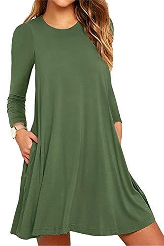 Tops Casual Mini YMING Cotton Sleeveless Tunic Summer Comfy Green K Women Swing army Dress w4XAqXE