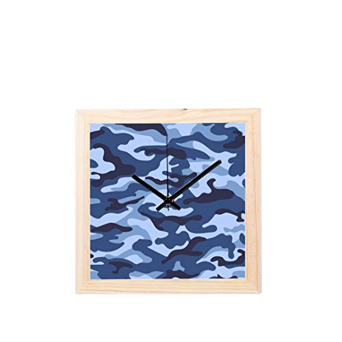 Chawzie Camouflage Protective Military Cool Style Non-Ticking Square Silent Wooden Diamond Large Display Digital Battery Wall Clocks Painting Dial for Kitchen Kid Bedroom Home Office Decor