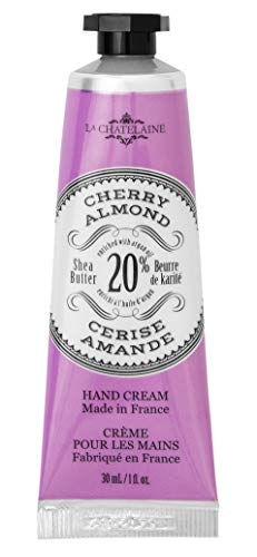 La Chatelaine 20% Shea Butter Cherry Almond Hand Cream, 1 fl oz (30 ml), Made in France with Organic Shea Butter and Argan Oil