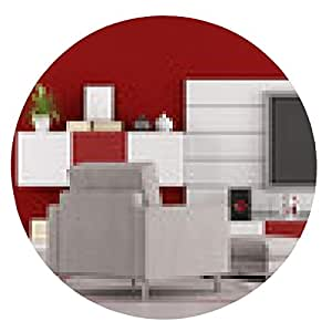 alfombrilla de ratón sala de estar con TV Rojo - ronda - 20cm