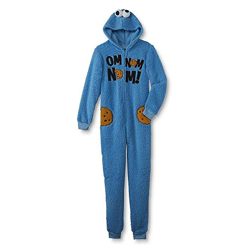 Sesame Street Adult Womens Onesie Pajama Characters Union Suit (Cookie Monster, XL)
