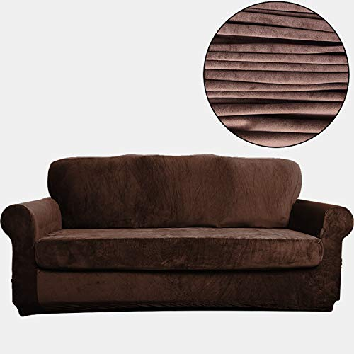 TIENCIY 2 Piece Modern Velvet-Sofa Slipcover Covers for Living Room,Couch Covers for Dogs, Sofa Slipcover,Couch slipcover (Sofa, Chocolate - Solid)