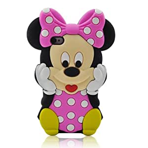 For Apple iPhone 4 4S Cute 3D Cartoon Mouse Soft Silicone Case Cover - Pink