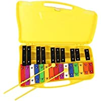 ENNBOM 25 Notes Vibraphone Xylophone Glockenspiel Black Blue Percussion Instrument with Yellow Case (BLACK)