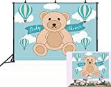 GYA 7x5ft Teddy Bear Hot Air Balloon Blue Party Theme Backdrop Teddy Bear Baby Shower Birthday Photography Background Carnival Banner Dress up Cake Table Decoration