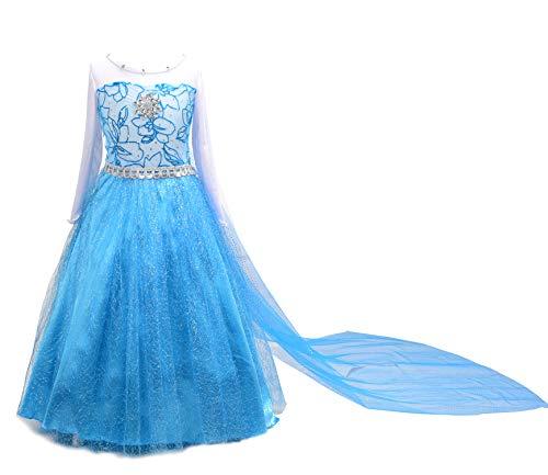 Dressy Daisy Girls Frozen Princess Elsa Dress Up Costumes Party Dresses Long Detachable Train Size 6]()