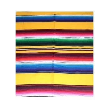 Mexican Serape Blanket Table Runner Decor You Choose Color (Yellow)