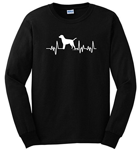 Labrador Retriever Lover Gifts Labrador Retriever Gifts Dog Lover Heartbeat Lab Long Sleeve T-Shirt Small Black ()
