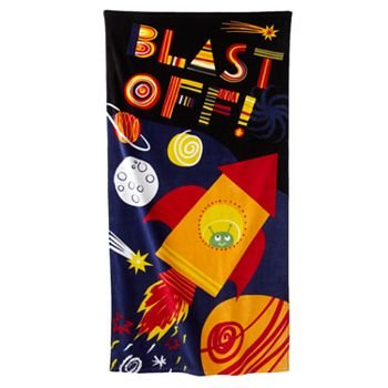 Jumping Bean Rocket Ship Beach Towels 30 Inches X 60 Inches Set of 2 Towels