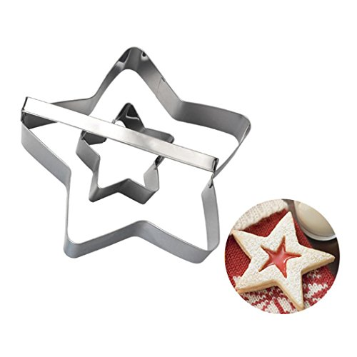 Botrong Stainless Steel Sandwich Cake Biscuit Cookie Cutter Mold DIY Baking Pastry Tool (Five-pointed Star Shape)