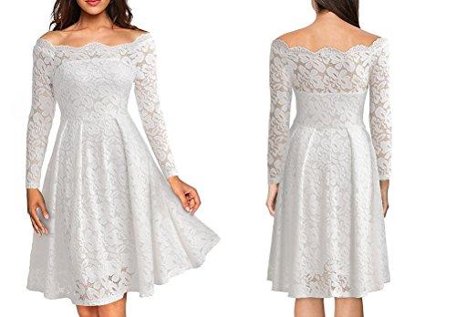 Vestidos de Fiesta de Noche Elegantes De Mujer Casuales Largos De Encaje Manga Larga VE0049 White