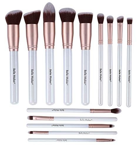 Belle Maker 14pc Makeup brush set, Start-To-Finish collection for all coverage with professional synthetic bristle within Blending, Contour, Highlight, Smudge, Buffing beauty tools. (Soft Gold)