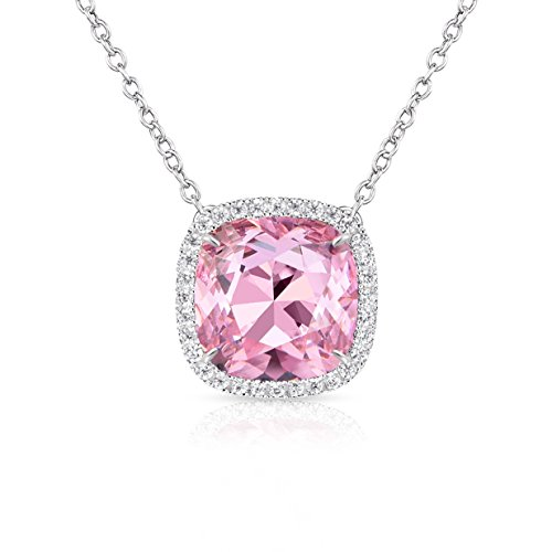 Alantyer Birthstone Necklace Square Pendant Anniversary Jewelry Gifts for Women and Girls Crystal Comes from - Pink Square Charm