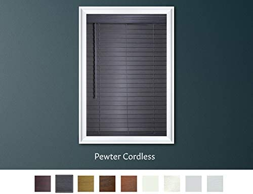 Luxr Blinds Custom-Made 2 Faux Wood Cordless Horizontal Blinds – 39 W x 61 to 72 H – Pewter