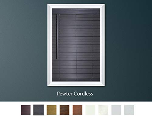 Luxr Blinds Custom-Made 2″ Premium Faux Wood Cordless Horizontal Blinds with Easy Inside Mount – 22″ x 36″ – Pewter (Gray)