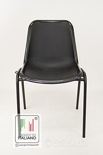 Sedie Monoscocca Impilabili.Stil Sedie Sedia In Metallo Colore Nero Monoscocca Da