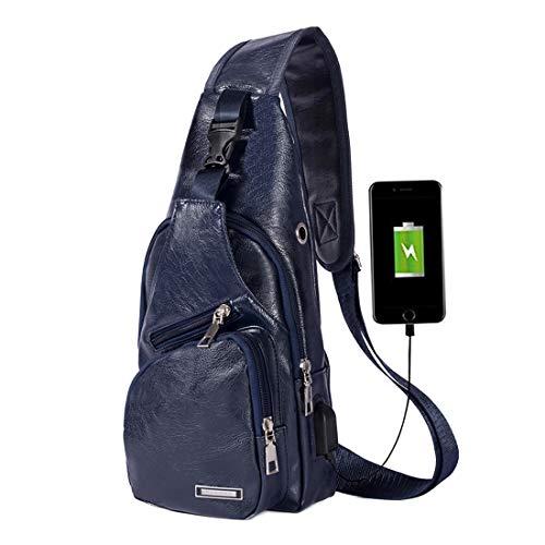 Mens Leather Sling Bag Chest Shoulder Backpack Crossbody Bag with USB Charging Port Dark Blue