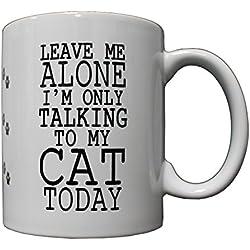 P&B Leave Me Alone Talking to My Cat Ceramic Coffee Mugs 11 oz