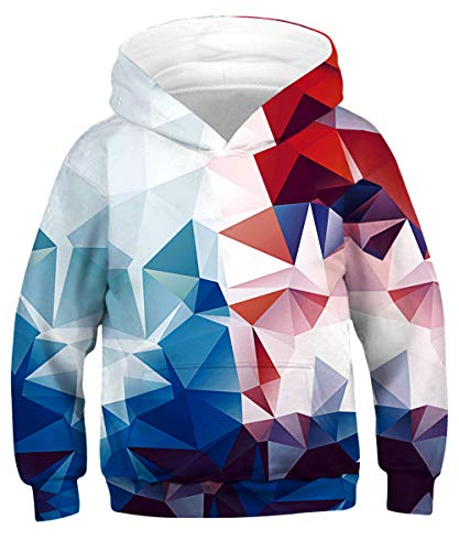 (GLUDEAR Unisex Galaxy Pockets 3D Pullover Hoodie Hooded Sweatshirts for Boys Girls,Geometric,8-11 Years)