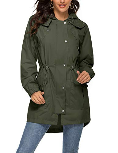Romanstii Mesh Lined Rain Jacket Women for Her,Waterproof Clothing for Travel Outwear Trenchcoat Army Green,L