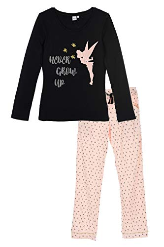 (Tinker Bell Pajama Set T-Shirt with Long Sleeves and Legging Women (Black, Large))