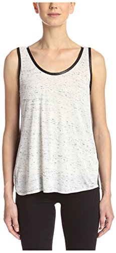 Splendid Women's Leather Trim Tank, Grey/White, S