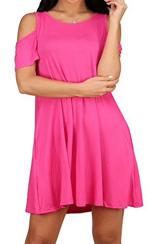 Casual with Shirt Loose T S Women's Tunic rosy 01 XL Dress Pockets Alaroo xw0I1