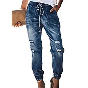 Denim Joggers Elastic Waist Stretch Pant