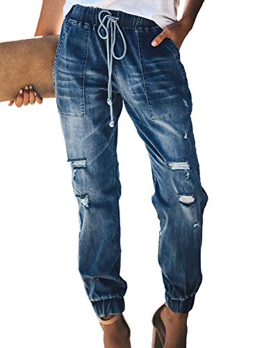 Sidefeel Women Distressed Denim Joggers Elastic Drawstring Waist Jeans Pants Small Blue
