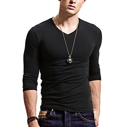 Mens Fitted Shirts - XShing Fitting Men Soft Long Sleeves Athletic Muscle Cotton T Shirt Stretchy V Neck,V Black,X-Large = US Large