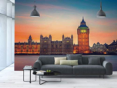 Funky Wall Mural Sticker [ London,Fairy View of Big Ben and Houses of Parliament at Dusk in London British Urban Town,Multicolor ] Self-Adhesive Vinyl Wallpaper/Removable Modern Decorating Wall Art -