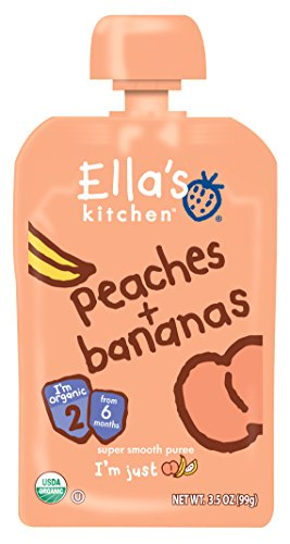 - Ella's Kitchen Organic Stage 2, Peaches + Bananas, 3.5 Ounce