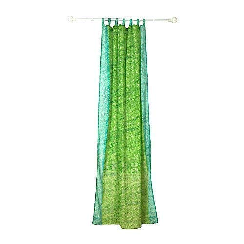 GREEN Curtain Colorful Window Treatment Draperies Indian Sari panel 108 96 84 inch for bedroom living room dining room kids yoga studio canopy boho tent with GIFT bag, Pear Green and Turquoise ()