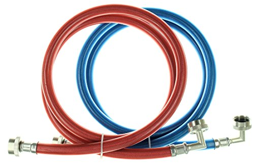 Triple Layer Stainless Steel Washing Machine Hoses with 90 Degree Elbow, 5 Ft Burst Proof (2 Pack) Red and Blue Color Coded Water Connection Supply Lines ()