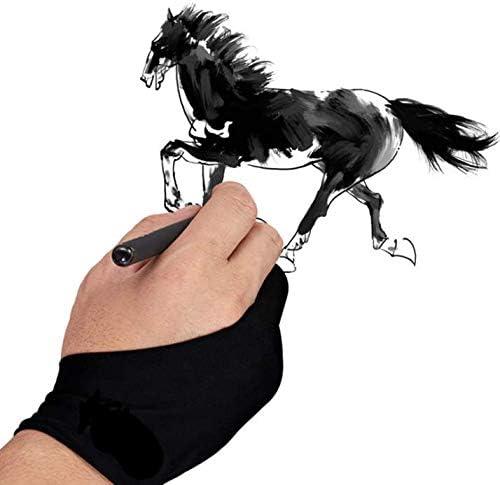 二本指 グローブ お絵描き手袋 右利き 左利き 両用 タブレット フリーサイズ 超軽量 快適 防汚 通気性 誤動作防止