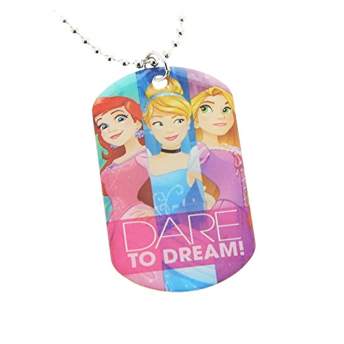 Disney Princess Pink Metal Dogtag Charm Necklace by H.E.R Accessories (Dog Necklace Tag Pink)