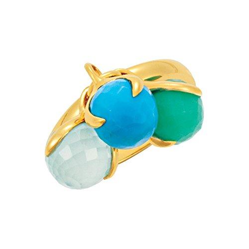 18K Yellow Gold Vermeil Multi-Gemstone Ring Size 6