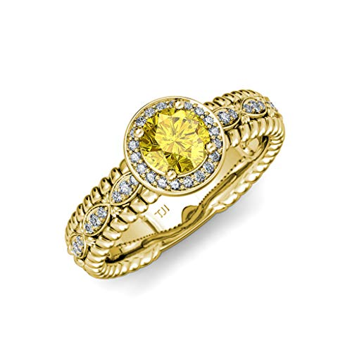 TriJewels Yellow Sapphire & Diamond Lavaliere Shank Halo Engagement Ring 1.22ctw 14K Yellow Gold.size 7.0 ()