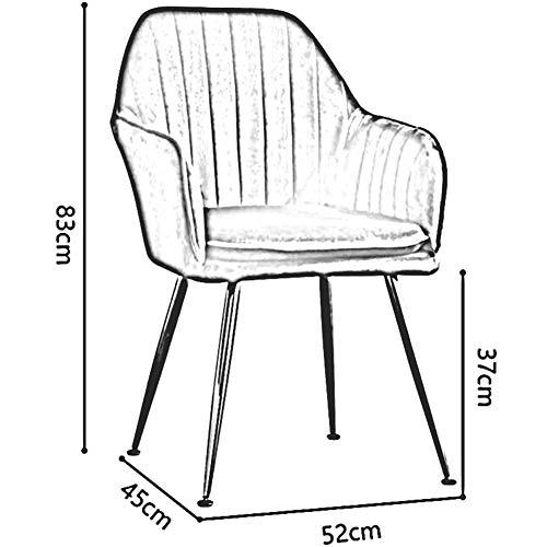 DALL matrumsstol av sammet guld metallben bordsstol med ryggstöd mjuk kudde makeup-stol halkfri samling 52 x 45 x 83 cm (färg: grå)
