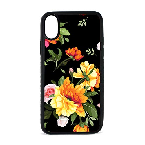 (Peony Yellow Retro Hand Drawn Digital Print TPU Pc Pearl Plate Cover Phone Hard Case Cell Phone Accessories Compatible with Protective Apple Iphonex/xs Case 5.8 Inch)