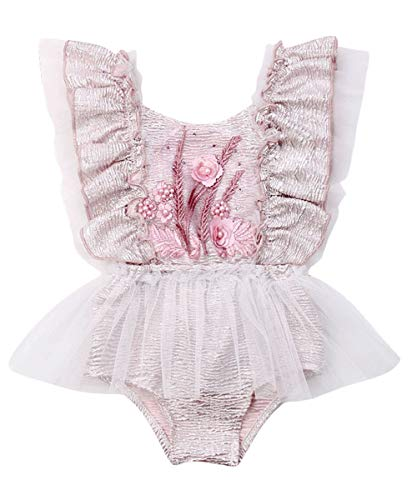 Newborn Infant Baby Girl Clothes Lace Halter Backless Jumpsuit Romper Bodysuit Sunsuit Outfits Set (A Very Gorgeous Onesies-Color 2, 12-18 Months)