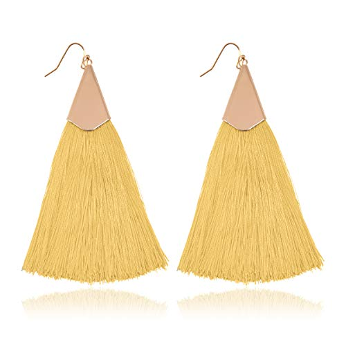 (Antique Bohemian Silky Thread Fan Tassel Statement Drop - Vintage Gold Feather Shape Strand Fringe Lightweight Hook/Acetate Dangles Earrings/Long Chain Necklace (Classic Tassel - Mustard))