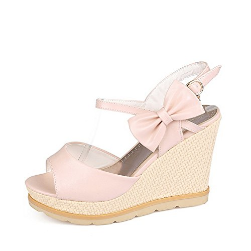 AmoonyFashion Womens High-Heels Solid Buckle Soft Material Peep-Toe Sandals Pink syweUJeD18
