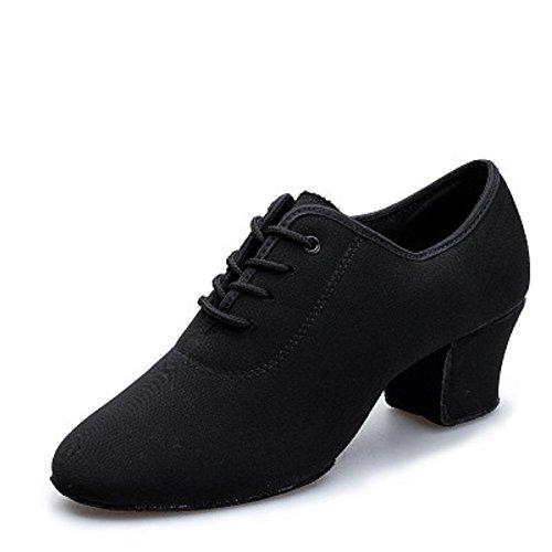 DLisiting Latin Dance Shoes Womens Black Oxford Cloth Ballroom Modern Dance Shoes (US7.5)
