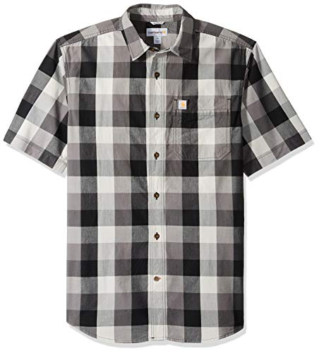 Carhartt Men's Essential Plaid Open Collar Short Sleeve Shirt, Charcoal, 2X-Large