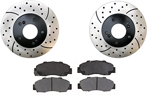 Prime Choice Auto Parts SMKPR42984298503 2 Front Performance Drilled and Slotted Brake Rotors and Semi Metallic Brake Pads Set (Honda Prelude Auto Parts compare prices)