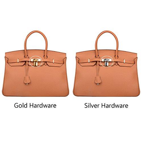 12015bc775 Ainifeel Women s Padlock Genuine leather 40CM Handbags (40cm(golden Hardware)